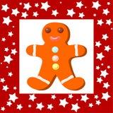 Cookie engraçada de Cristmas com quadro vermelho ilustração royalty free