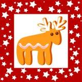 Cookie engraçada de Cristmas com quadro vermelho ilustração stock