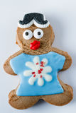 Cookie engraçada do pão-de-espécie em um fundo branco Imagem de Stock Royalty Free