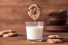 Cookie falls into the glass of milk. Stock Images