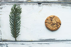 Cookie and firtree branch Royalty Free Stock Photos
