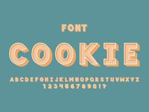 Cookie font. Vector alphabet. Letters and numbers. Typeface design royalty free illustration