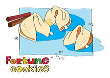 Cookie fortune. Hand-drawn illustration of cookie fortune. template invitations, menus, flyers Royalty Free Stock Photos