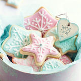 Cookie gift box. Gift box filled with snowflake cookies Royalty Free Stock Photography