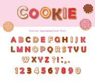 Cookie hand drawn decorative font. Cartoon sweet ABC letters and numbers. For birthday or Valentines day cards, cute design for gi. Rls. Vector Stock Photo