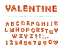 Cookie hand drawn decorative font. Cartoon sweet ABC letters and numbers. Perfect for Valentine s day cards, cute design Royalty Free Stock Photography