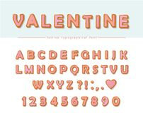 Cookie hand drawn decorative font. Cartoon sweet ABC letters and numbers. Perfect for Valentine s day cards, cute design Stock Photography