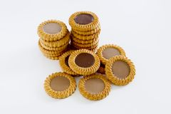 Cookie heap against white background Stock Image