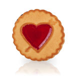 Cookie with a heart of jelly Royalty Free Stock Photography