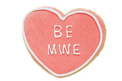 Cookie, Heart shaped biscuit with frosting words  be mine Royalty Free Stock Photography