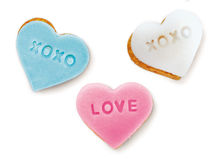 Cookie. Heart shaped cookie with love text Stock Photo