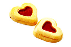 Cookie Hearts. Two cookies, heart shape, isolated Royalty Free Stock Photography