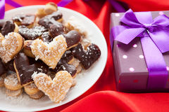 Free Cookie In The Form Of Hearts From A Beautiful Box Stock Images - 28695414