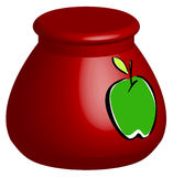 Cookie jar. 3D red cookie jar with green apple - vector royalty free illustration