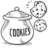 Cookie jar sketch. Doodle style cookie and cookie jar illustration in vector format vector illustration