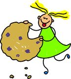 Cookie kid. Little girl eating a cookie - toddler art series royalty free illustration