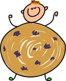 Cookie kid. Happy little boy dressed up as a chocolate chip cookie - toddler art series royalty free illustration