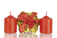 Cookie knotted ribbon and candles Royalty Free Stock Image