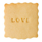 Cookie with LOVE sign Royalty Free Stock Photography