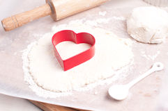 Cookie making for valentines day Royalty Free Stock Photos