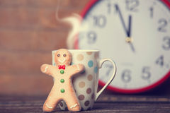 Cookie man and cup Royalty Free Stock Photo