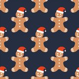 Cookie man in hat. Seamless vector pattern vector illustration