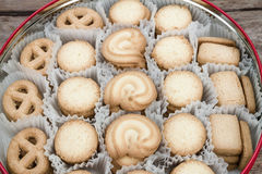 Cookie in metal tray Royalty Free Stock Photo