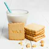 Cookie with MILK sign Stock Photo