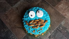 Cookie monster birthday cake Royalty Free Stock Images