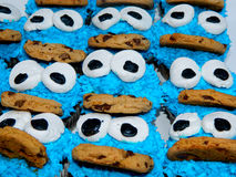 Cookie Monster Cupcakes Royalty Free Stock Photos