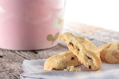 Cookie with napkin on wooden table. Royalty Free Stock Photo