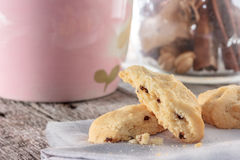 Cookie with napkin on wooden table. Stock Images