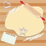 Cookie Party Invitation. Cookie dough rolled out with rolling pin, recipe card, and cookie cutters vector illustration