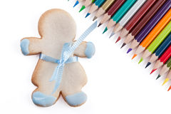 Cookie and pencils Stock Photography