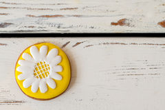Cookie with picture of flower. Royalty Free Stock Image