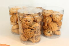 Cookie in plastic box , on white, studio shot. Royalty Free Stock Photo
