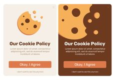 The cookie pop up. Set for web design. Flat vector design illustration. Useful for web design pop ups and other elements royalty free illustration