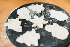 Cookie preparation. Figures from the test on the board. stock photos