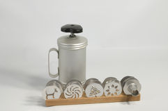 Cookie press. Hand press for baking cookies. With several discs and filler attachments Stock Image