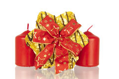 Cookie with ribbon and candles Royalty Free Stock Photography