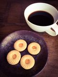 Cookie ring with coffee Royalty Free Stock Photos