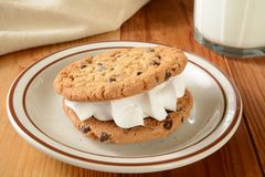 Cookie sandwich and milk Royalty Free Stock Photo