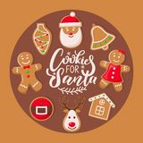 Cookie for Santa Claus Poster Christmas Sweets. Cookie for Santa Claus poster with Christmas sweets vector. Winter holiday celebration, belts and houses, bells stock illustration