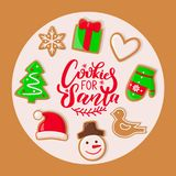 Cookie for Santa Claus Sweets Christmas Holiday. Cookie for Santa Claus sweets for Christmas holiday vector. Presents and hat, mitten and heart sign, giftbox and vector illustration