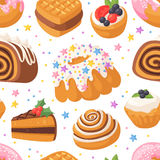 Cookie seamless pattern vector. Royalty Free Stock Photography