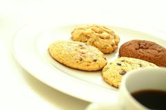 Cookie selection with coffee Royalty Free Stock Images