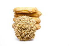Cookie with sesame. On white background Royalty Free Stock Photography