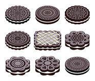 Oreo cookie set, vector. Icons of oreo cookie set, vector vector illustration
