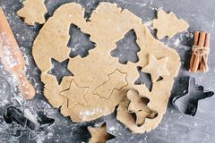 Cookie shape. Dough for ginger cookies. Christmas baking. View from above Stock Photography