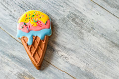 Cookie shaped as ice cream. Royalty Free Stock Photography